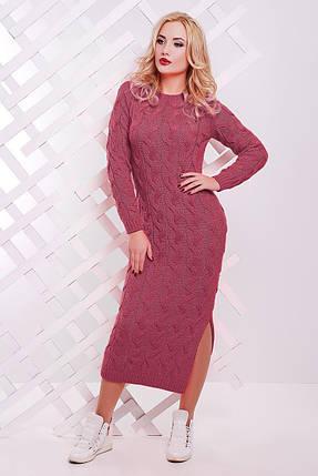 Яркое осенне платье на каждый день с круглым вырезом и длинным рукавом цвет темно-розовый, фото 2