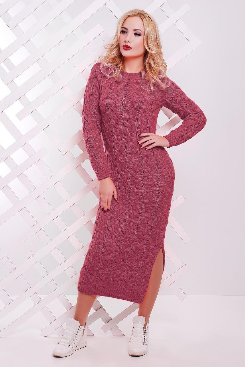Яркое осенне платье на каждый день с круглым вырезом и длинным рукавом цвет темно-розовый