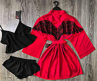 Красный халат с крыльями+черная пижама, набор домашней одежды.