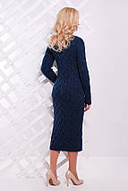 Повседневное платье в обтяжку крупная вязка цвет темный джинс, фото 2
