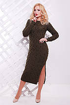 Яркое зимнее платье плотной вязки по фигуре цвет горчичный, фото 3