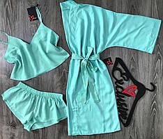 Мятный хлопковый комплект домашней одежды халат+топик+шортики.