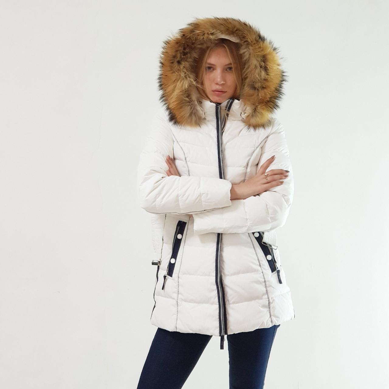 Куртка пуховик зимний женский Snowimage с капюшоном и натуральным мехом 48 белый 305-01