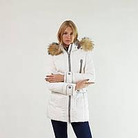 Куртка пуховик зимний женский Snowimage с капюшоном и натуральным мехом 44 белый 309-01