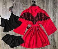 Набор халат и пижама( топик+шорты)-крылья ангела.
