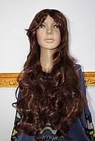 Парик искусственный длинные каштановые волосы с челкой