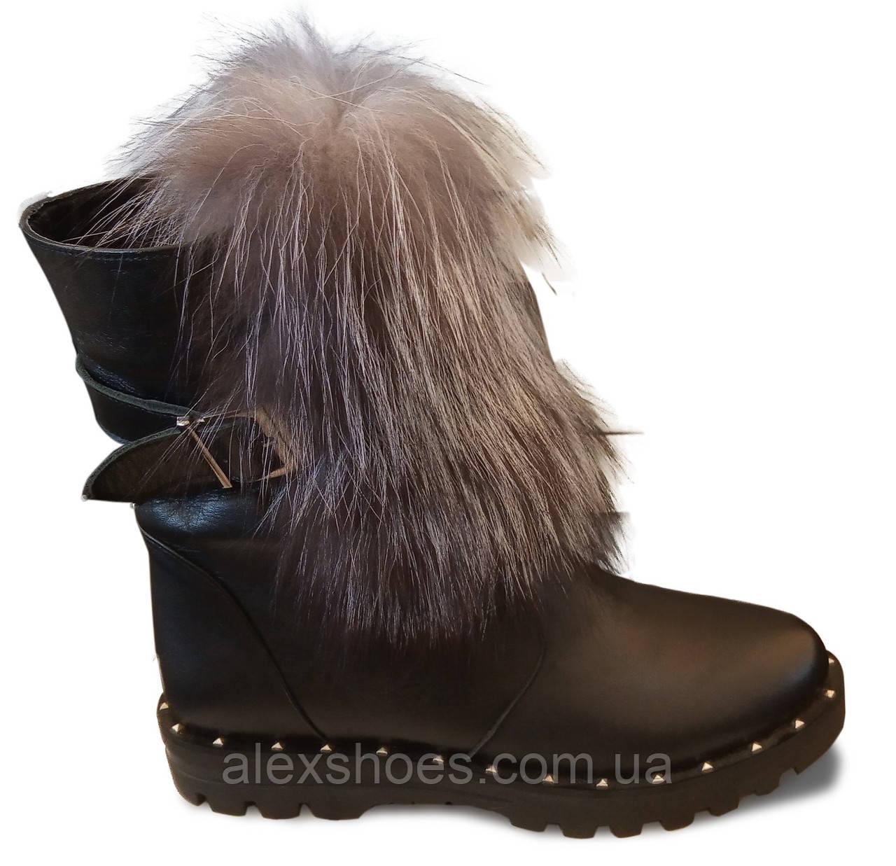 Ботинки женские зима на широком каблучке из натуральной кожи от производителя модель ЛУ436