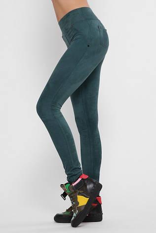 Класичні зелені лосини Trend з м'якого экозамша, фото 2