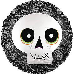 """Фол шар Anagram 18"""" Круг Happy Halloween череп в паутине (Анаграм)"""