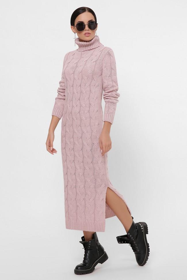 """Вязаное платье миди с высоким воротником и разрезом светло-пудрового цвета """"CAMERON"""""""