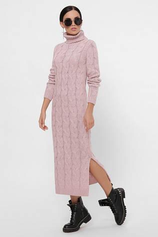 """Вязаное платье миди с высоким воротником и разрезом светло-пудрового цвета """"CAMERON"""", фото 2"""