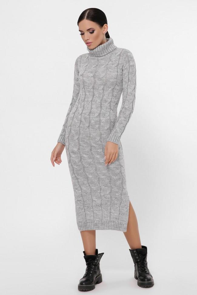 """Світло-сіре в'язане довгу сукню з високим коміром і розрізом """"CAMERON"""""""