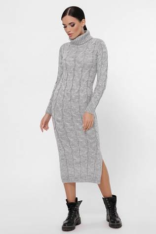"""Світло-сіре в'язане довгу сукню з високим коміром і розрізом """"CAMERON"""", фото 2"""