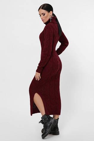 """Длинное бордовое вязаное платье с воротником под горло """"CAMERON"""", фото 2"""