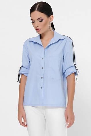 """Блакитна жіноча сорочка вільного крою """"Santi"""", фото 2"""