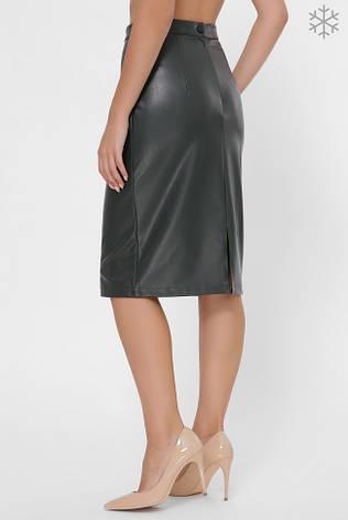 Утепленная кожаная юбка ниже колен зеленая, фото 2