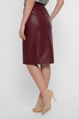 Кожаная прямая юбка миди бордового цвета, фото 2