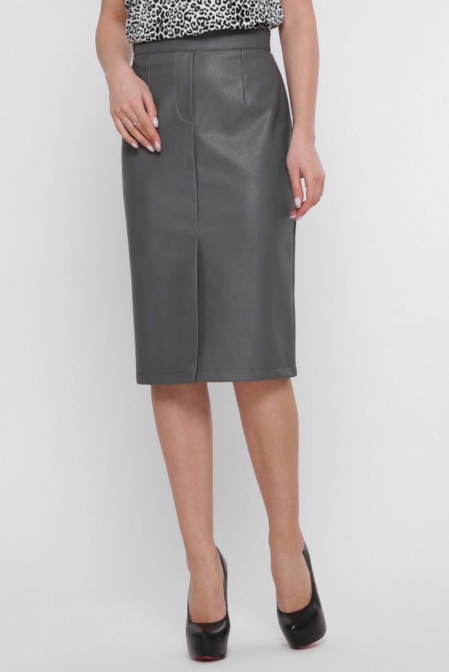 Кожаная юбка миди серого цвета