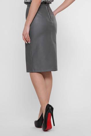 Кожаная юбка миди серого цвета, фото 2