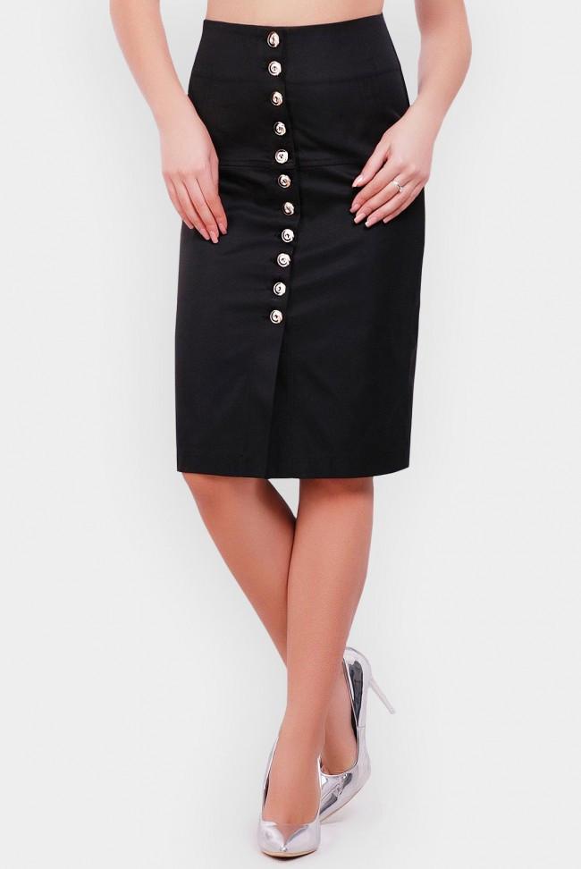 Черная юбка-карандаш миди с завышенной талией