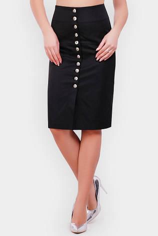 Черная юбка-карандаш миди с завышенной талией, фото 2