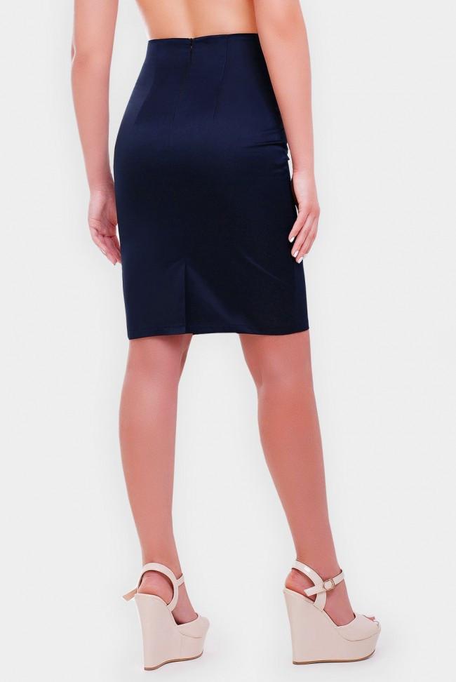 Классическая синяя юбка - карандаш средней длины
