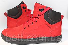 Зимние кожаные ботинки красные
