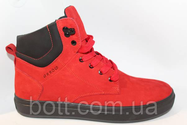 Зимние кожаные ботинки красные, фото 2