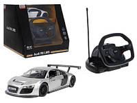 """Машинка на радиоуправлении """"Audi R8"""" с рулем (серебристая) 53600-10"""