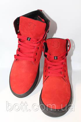 Зимние кожаные ботинки красные, фото 3