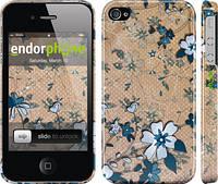 """Чехол на iPhone 4s Синие цветы на коричневом фоне """"506c-12"""""""