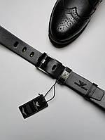 Мужской кожаный ремень армани (Giorgio Armani), черный реплика