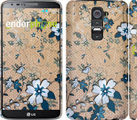 "Чехол на LG G2 Синие цветы на коричневом фоне ""506c-37"""