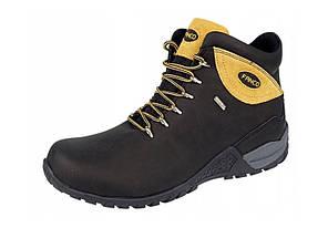 Треккинговые высокие мужские ботинки с цветной желтой вставкой, р. 41-46