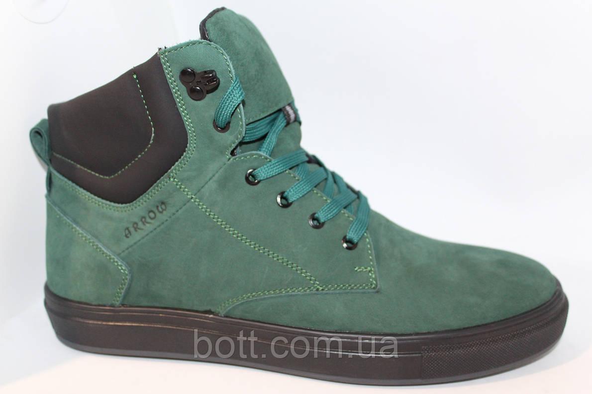 Зеленые зимние кожаные ботинки, фото 2