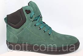 Зеленые зимние кожаные ботинки