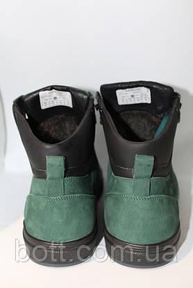 Зеленые зимние кожаные ботинки, фото 3