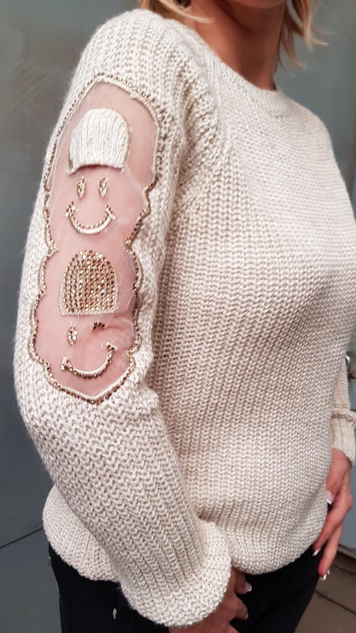 Женская вязаная кофта с оригинальными рукавами (0310/24)