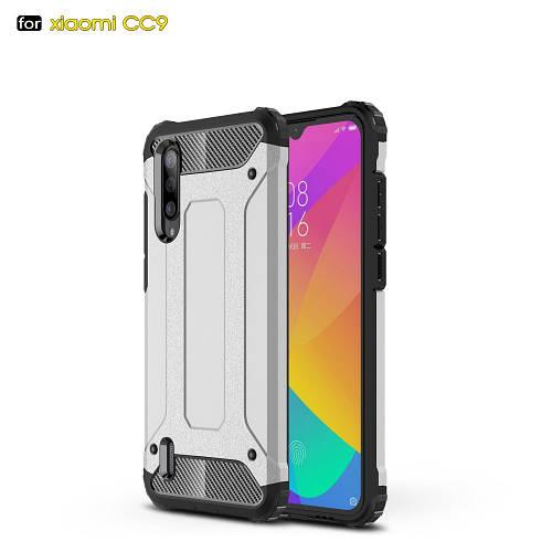 Чехол накладка для Xiaomi Mi 9 Lite противоударный, Spider, серебристый