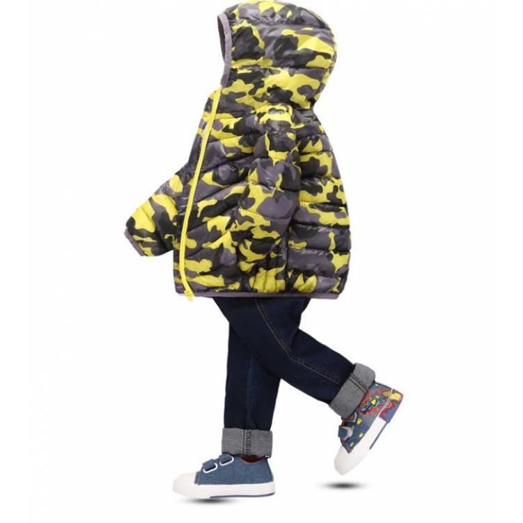 Куртка детская демисезонная на мальчика  весна-осень  камуфляж желтая 1-5 лет