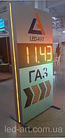 Световая рекламная стела для АЗС со светодиодными табло 2000 х 900 мм