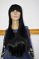 Парик искусственный имитация натуральных волос длинные прямые черные волосы