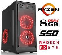 Персональный компьютер ZEN / 4ядра* 3.4GHz / 8Gb_DDR4 / 500Gb / SSD_120Gb / RX 570_4G_GDDR5