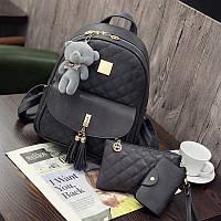 Рюкзак стеганый 3в1 с брелочком серого цвета опт, фото 1