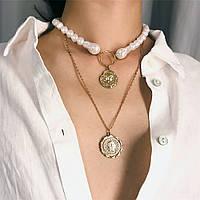 Многослойное жемчужное ожерелье-чокер, цепочка с подвесками жемчуг