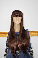 Парик из искусственных волос длинные прямые волосы светло каштановые