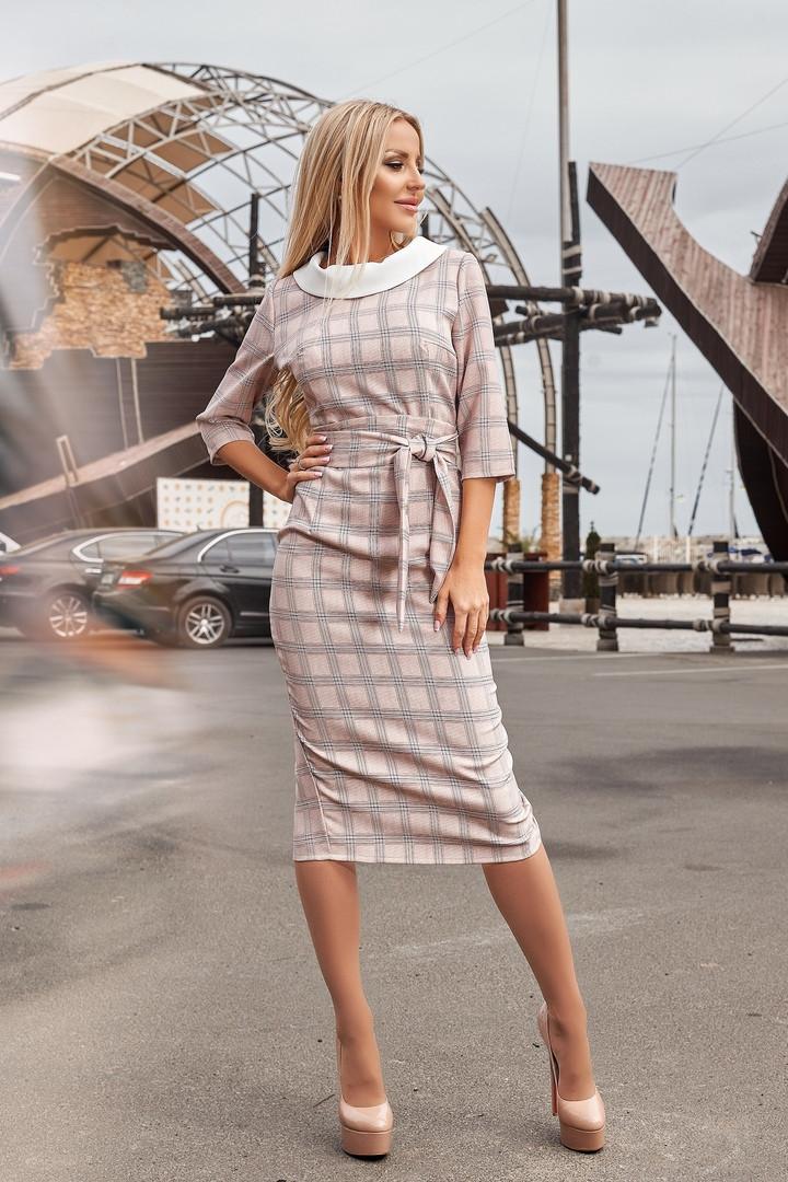 """Облегающее деловое миди-платье """"Clara"""" с четвертным рукавом и поясом (3 цвета)"""