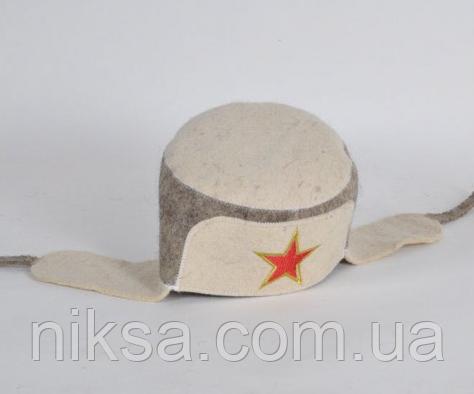 Шапка для бани и сауны войлочная Ушанка