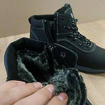 Зимові чоловічі черевики натуральна шкіра чорні шкіряні високі черевики, фото 3