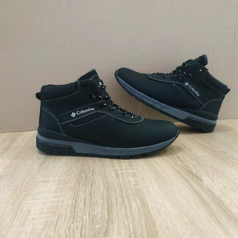 Зимові чоловічі черевики натуральна шкіра чорні шкіряні високі черевики